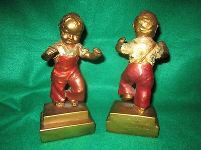 RARE Antique Armor Bronze Clad Bookends Boys 1st Step Toddlers Twins Polychrome