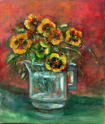 Pansies Floral Painting 10x8 in. Acrylic on panel  Hall Groat Sr.
