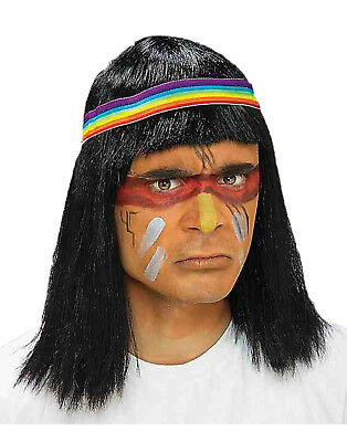 Brave Warrior Black Adult Native American Indian Chief Costume Wig