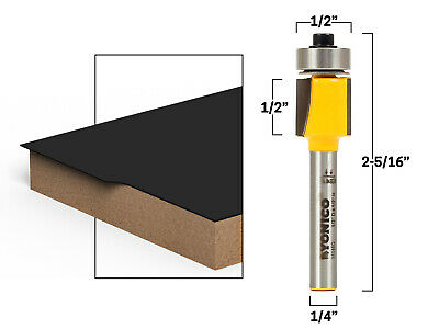 "1/2"" Laminate Flush Trim Router Bit - 1/4"" Shank - Yonico 14146q"
