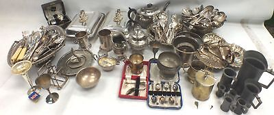 Large Assorted Collection Of Silver Plate / Metal Vintage Tableware  - W37