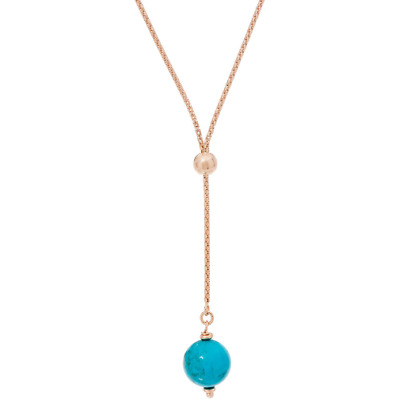 Italian Silver Rose Plated Sterling Turquoise Bead Adjustable Necklace Qvc