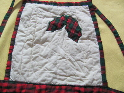 Vintage red green plaid cotton Christmas apron home made