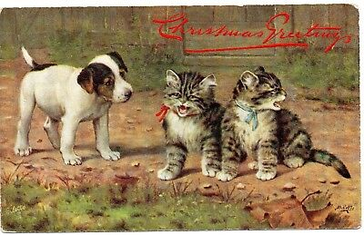 """Dog looking at Kittens; Tuck's Oilette """"When Cats are Kittens"""" Vintage Postcard"""