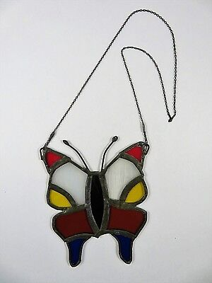 Small Antique Leaded Stained Glass Butterfly Sun Catcher With Long Hanging Chain