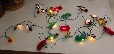 Vintage Christmas Lights With 20 Different Soft Birds 8 1/2' Long Works