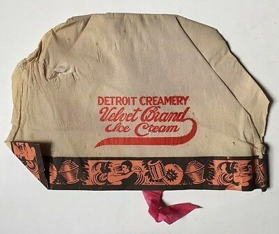 OLD DETROIT CREAMERY VELVET BRAND ICE CREAM ADVERTISING HAT Paper GERMANY