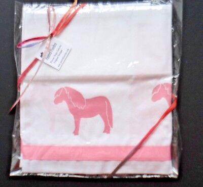 Pink Shetland Pony Valance white with pink horses and ribbon sample sale