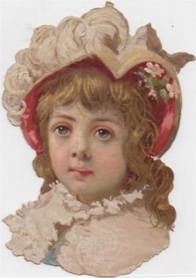 Victorian Die Cut Scrap Little Girl in Lace & Feathers c1880
