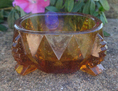 Deco-Style, Master Amber Glass Footed Open Salt Dip, Cellar, Dish!