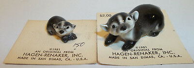 1981 Vintage Hagen Renaker Mama & Baby Badger Miniature Figurines ON CARD
