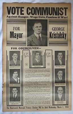 1934 Vote Communist Hamtramck Near Detroit Michigan Political Election Poster