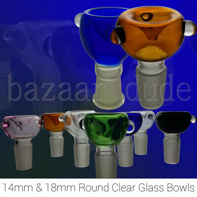 Glass Bowl | Clear Glass Colors | 14mm & 18mm | Male & Female | 4 Bong Downstem