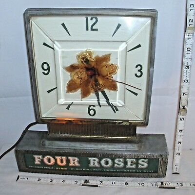 FOUR ROSES WHISKEY LIGHTED ADVERTISING WALL CLOCK 1930s works
