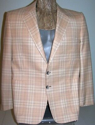 "VTG 1980's BEIGE PLAID BLAZER Men's 40-42S Wool 3-1/2"" Lapels 2-Buttons No-Vent"