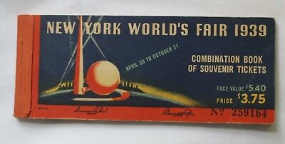 1939 Unused New York Worlds Fair Combination Book Of 8 Complete Souvenir Tickets