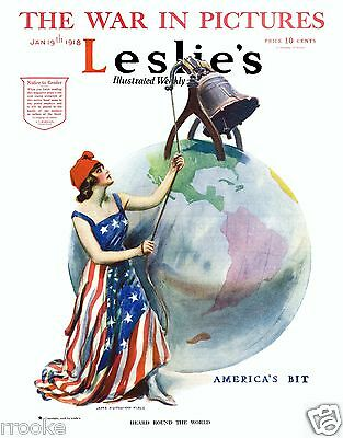 1918 Leslie's LET FREEDOM RING WWI James Montgomery Flagg Fine Art Print Poster