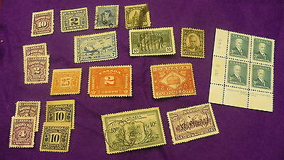 Assorted Canada postage stamps customs special delivery postage due P268