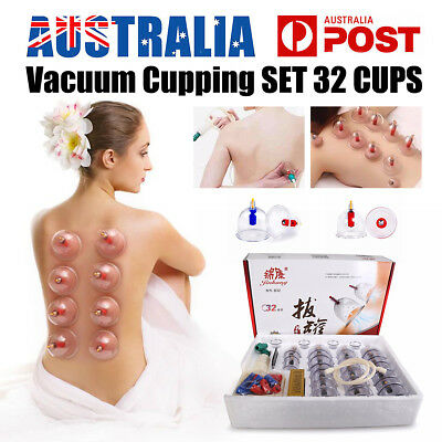 Vacuum Cupping Suction Pain Relief 32 Cups Set Massager Kit Massage Acupuncture