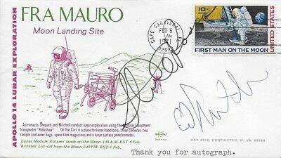 Apollo 14 Crew Signed Moon Landing Cover Moonwalker Ed Mitchell & CMP Stu Roosa