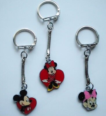 New Disney Enamel Keyring/key Chain Mickey Or Minnie Mouse Present/gift