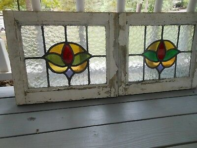 P-162 Lovely Older Leaded Stained Glass Window From England 2 Available