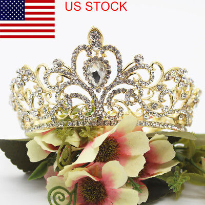 US Vintage Women Rhinestone Round Crown Tiara Wedding Bridal Pageant Headpiece