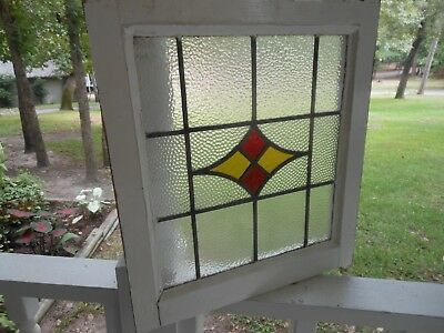 """S-21 Lovely Older Leaded Stained Glass Window F/England 18 3/8"""" W X 17 3/4"""" Tall"""