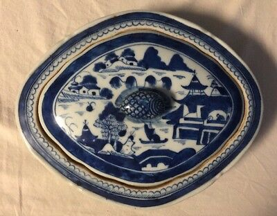 Antique Blue and White Chinese Export Porcelain Canton Covered Dish 19th Century