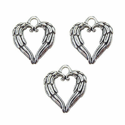Pack of 30 Vintage Silver Metal Feather Heart Shaped Charm For Necklace Pendants