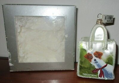 Nordstrom Christmas Shopping Bag  With Dog  Blown Glass  Ornament Made In Poland