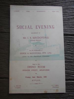 1951 Sands & McDougall I B Macdougall Social Evening Spencer St Melbourne