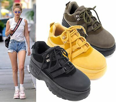 Womens Lace Up Trainers Chunky Heel High Platform Sneakers Casual Shoes Size 3-8