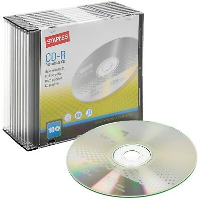 10 x Staples CD-R Blank Recordable CD Discs 80 Mins 700MB 52x Speed Slim Cases