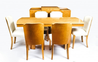 Antique Art Deco Birdseye Maple Dining Suite Circa 1930