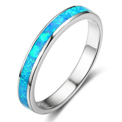 Fashion Women Simple Single Circle Opal Ring Wedding Engagement Ring B