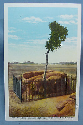 TREE ROCK LINCOLN HWY 1940S SHERMAN HILL WY VINTAGE WYOMING POSTCARD 1d