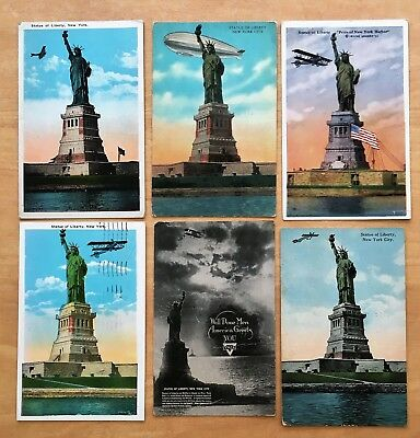 Lot of 6 Vintage Postcards ALL STATUE OF LIBERTY, NYC Airplane ZEPPELIN