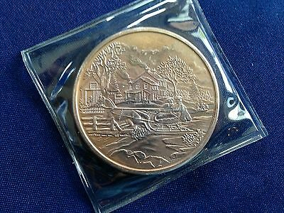 Horse Drawn Sleigh in Winter Scene Two Troy Ounce Silver Art Medal P2679