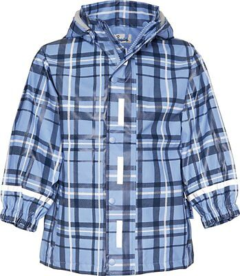 Playshoes Plaid Patterned Waterproof Girl's Rain Coat in blue uk sz 5/6yrs new