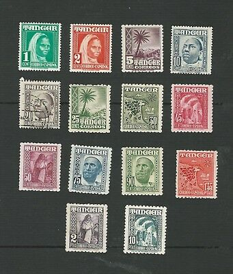 1948 Spanish Post Offices In Tangiers. Pictorial Definitive Set Of 14 Stamps. Mh