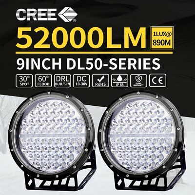 2x 9inch CREE LED Driving Lights Spot Beam Offroad Spotlights Lamp 12V 4WD BLACK
