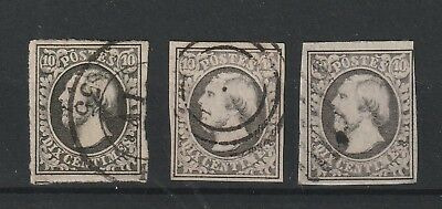 Luxembourg 1852 Mi # 1 in 3 shades of black full margins vf used