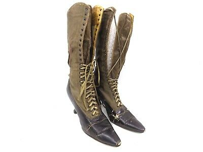 Antique Victorian leather black with green silk women lace up tall boots