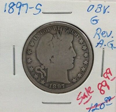 1897-S 50C Barber Silver Half Dollar With Good Obverse/AG Reverse
