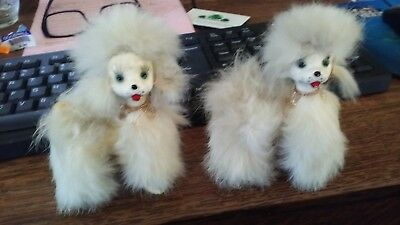 vintage  poodles, 50's, figurines, white fur, two(2)