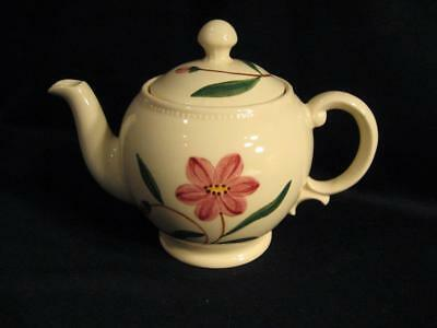 Vintage Pink Floral Footed Teapot - Made In Usa - Maker Unknown