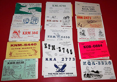 """VINTAGE 1970`s/80`s LOT OF 100 DIFFERENT """"CB RADIO QSL CARDS"""" IN VG CONDITION!!"""