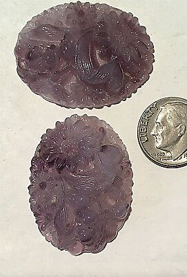 Vintage  Stunning Large Carved Amethyst Flower Glass Jewels 3 Pcs  Purple