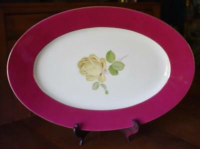70e7720ef0d Lovely Thomas Germany Yellow Rose With Burgundy Trim Large Oval Platter